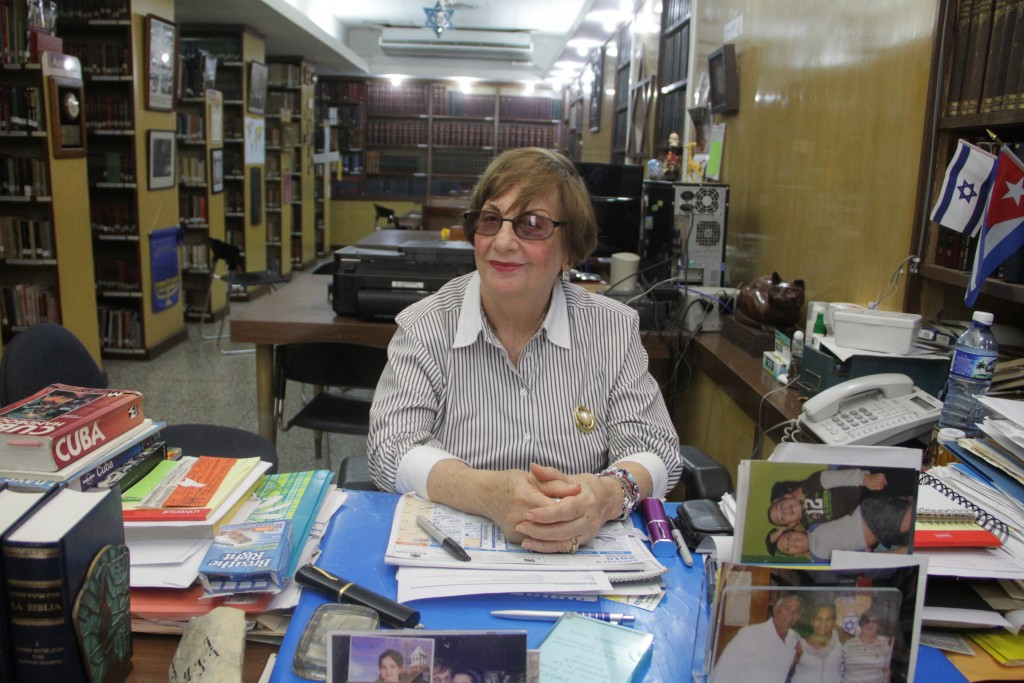 Adela Dworin has been president of the Beth Shalom synagogue since 2006 and serves as the Cuban Jewish community's government liaison. She opposes Chabad's traveling to Cuba on tourist visas rather than religious ones. (Josh Tapper)