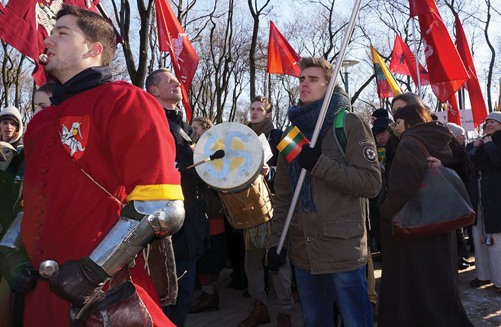 Lithuanian ultranationalists march in Kaunas last month.