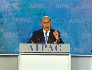 Israeli Prime Minister Benjamin Netanyahu  addresses the AIPAC policy conference a day before his controversial speech to Congress on March 3.