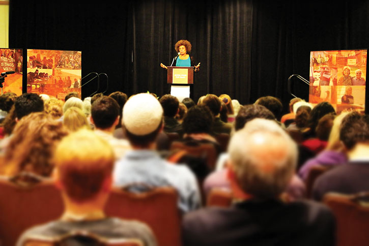 Angela Davis, political activist and author, earned a standing ovation after her keynote address. (Jules Cowan)