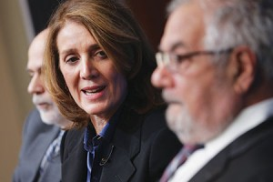 Ruth Porat, who will join Google as its CFO, speaks during a panel discussion at the Brookings Institution in Washington, D.C., last month.