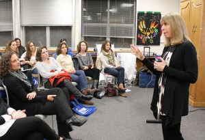 Lisa Ferentz speaks to a group of mothers at the Community Parent  Symposium at KSDS. (Provided)