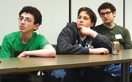 "From left: Joseph Gelula, Noah Green and Barak Widawsky. Being pro-Israel means ""I want Israel to exist,"" Gelula said. ( David Holzel)"