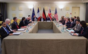 Secretary of State John Kerry meets with foreign ministers in Lausanne, Switzerland, during negotiations with Iranian leaders about the future of their nuclear program. (State Department photo/SIPA/Newscom)