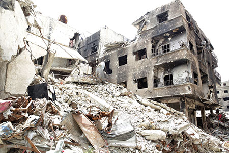 Under constant siege, the Yarmouk Palestinian refugee camp is still home to 18,000 residents. (YOUSSEF BADAWI/EPA/Newscom)