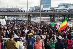 Several thousand people march  to protest police violence against Israel's ethnic Ethiopians. (NurPhoto/REX Shutterstock/Newscom)