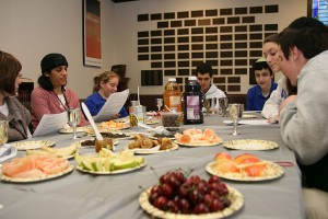 Students at Beth Tfiloh celebrated Tu B'shvat while incorporating environmental issues into the meal. (Photo provided by Beth Tfiloh)
