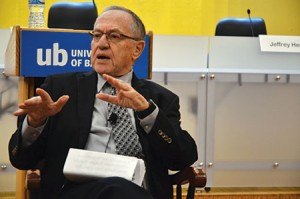 "Alan Dershowitz: ""[The BDS movement] is an attempt to persuade the current generation of college students that Israel is a major human rights violator and doesn't deserve [their] support."" (Melissa Gerr)"