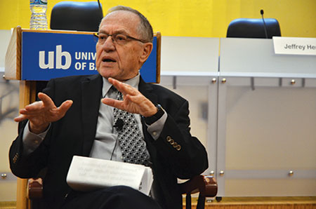 """Alan Dershowitz: """"[The BDS movement] is an attempt to persuade the current generation of college students that Israel is a major human rights violator and doesn't deserve [their] support."""" (Melissa Gerr)"""