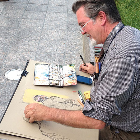 Courtroom sketch artist  William J. Hennessy completes his  treatment of the Freundel sentencing  on the courthouse's front steps.