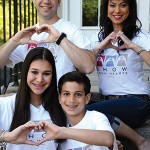 """Clockwise from top left:David, Jessica, Aidan and Lexi Silverman """"show their hearts"""" and invite the community to Family Fun Night Fundraiser for the Berry children. (Photo by Melissa Gerr)"""