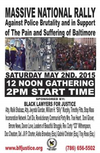 The original flyer for Saturday's rally, which has since been removed from the Black Lawyers for Justice website.