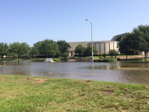 Congregation Beth Israel in Houston was flooded Tuesday after the Brays Bayou overflowed, making Braeswood Blvd impassible.