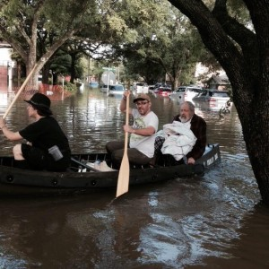 Rabbi Joseph Radinsky, rabbi emeritus of United Orthodox Synagogues of Houston, was among those who had to be rescued from their homes by watercraft after Houston was hit with heavy flooding, May 26, 2015. (Robert Levy)