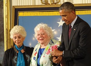 President Barack Obama awards the Medal of Honor posthumously to Sgt. William Shemin as daughters Ida Shemin and Elsie Shemin-Roth proudly accept the honor. (Suzanne Pollak)