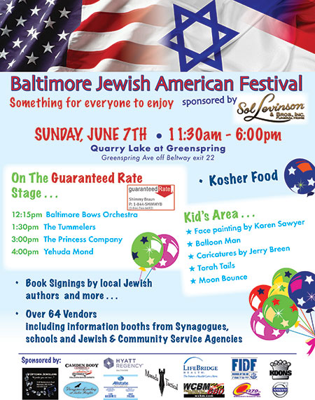 The Baltimore American Jewish Festival will be held on Sunday, June 7, at Quarry Lake at Greenspring. (Provided)