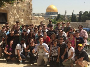 The Phoenix group from one of  the pilot Honeymoon Israel trips  gathers in Jerusalem, in May.