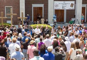 Charleston residents during a prayer vigil outside the Morris Brown AME church (RICHARD ELLIS/EPA/Newscom)