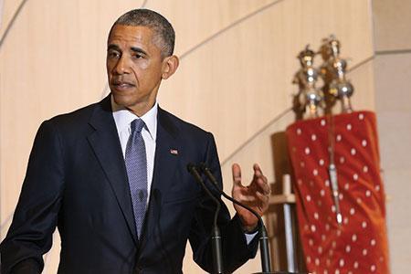 President Obama speaking at Adas Israel Congregation in Washington, D.C., May 22, 2015. (Chip Somodevilla/Getty Images)