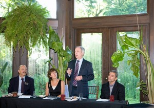 LEGISLATIVE BREAKFAST: From left: District 11 Dels. Dan Morhaim, Shelly  Hettleman and Dana Stein and Sen. Bobby Zirkin speak about the most recent  Maryland General Assembly session with members of the Pikesville Chamber  of Commerce at a breakfast at the Gramercy Mansion in Stevenson on Wednesday,  June 24. (Marc Shapiro)