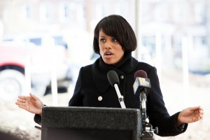 Mayor Stephanie Rawlings-Blake speaks at the groundbreaking of Renaissance Gardens, a 60-unit independent apartment building to benefit limited-income seniors.