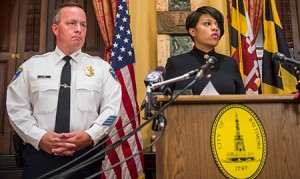 Interim Baltimore Police Commissioner Kevin Davis with Mayor Stephanie Rawlings-Blake at a news conference.