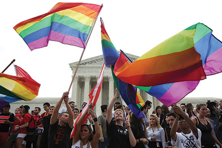 Same-sex marriage supporters celebrate outside the supreme court on June 26. (Photo Alex Wong/Getty Images)