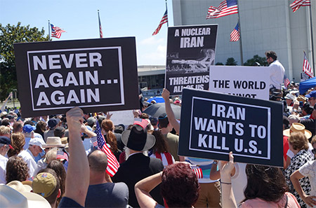 Hundreds of people protest against the Iran nuclear deal on July 26 in Los Angeles. (Peter Duke)