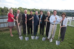 From left: County Councilwoman Vicki Almond, Richie Blue, Tom Obrecht, Dan Benedix, Del. Dana Stein, owner Charles Levine, Del. Dan Morhaim, County Executive Kevin Kamenetz and Del. Shelley Hettleman break ground for Citron last month.
