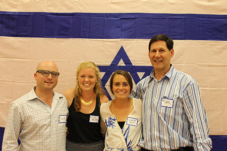 From left: Scott Neiss, executive director of the Israel Premiere Lacrosse League, U19 coaches Emily Brodsky and Hannah Deoul and Mark Greenberg, executive board member of IPLL.