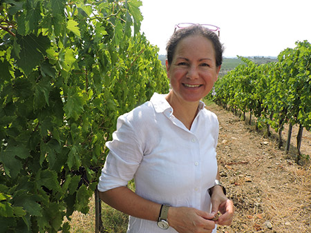 Maria Pellegrini, who owns the winery with her husband, grew up in a winemaking family in southern Italy.  But because she isn't Jewish, she can't take part in the winemaking.