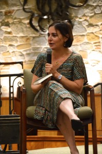"Caroline Glick, Jerusalem Post deputy managing editor, speaks to a full sanctuary crowd at Beth Tfiloh, urging American Jews to fight against ""a deliberate attempt on behalf of the President of the United States to scapegoat American Jewry."" Photo: Melissa Gerr"