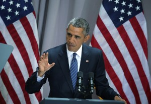 President Barack Obama speaks about the Iran nuclear agreement at American University.