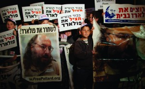 Israelis call for the release of convicted spy Jonathan Pollard during President Barack Obama's visit to Jerusalem in 2013.