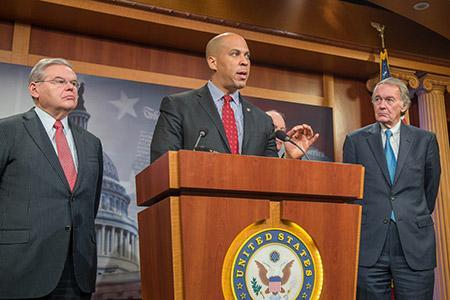 When Congress votes on the Iran Deal, Sen. Cory Booker (center) will be thrust into the spotlight.