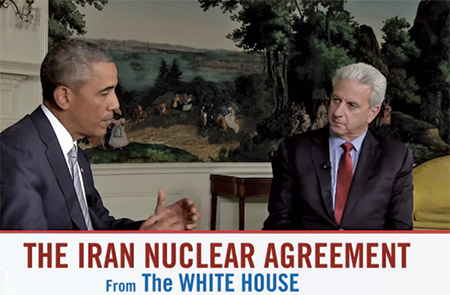 President Barack Obama speaks about the Iran deal during a live webcast on Aug. 28 co-sponsored by the Jewish Federations of North America and the Conference of Presidents of Major American Jewish Organizations. (Screencap)