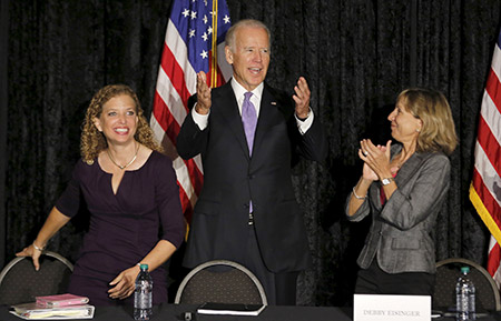 Debbie Wasserman Schultz and Vice President Joe Biden make a joint appearance at an event with Jewish community leaders in Florida. (JOE SKIPPER/REUTERS/Newscom)