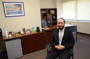 Rabbi Chesky Tenenbaum at his newly opened law enforcment lounge  in Pikesville. (Melissa Gerr)