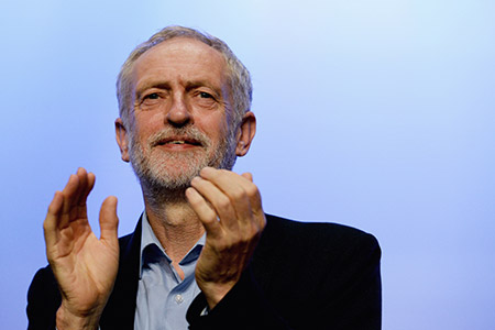 Labour Party leader Jeremy Corbyn addresses a Trades Union Conference earlier this month. (Mary Turner/Getty Images)