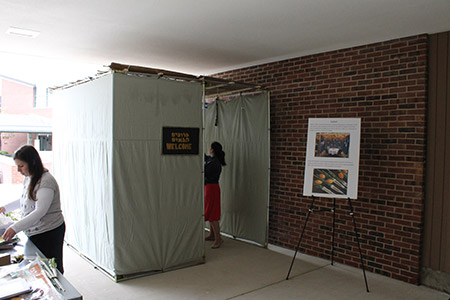 Students at Stevenson University construct and decorate a sukkah to help educate both Jewish and non-Jewish students at the school's Greenspring campus.