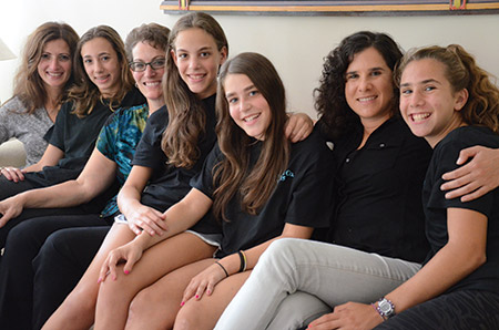 From left: Lana Koman, Nicole Koman, Wendy Elover, Shannon Elover, Julie Elover, Jennifer Millman and Jessica Millman started the Bat Mitzvah Girls' Giving Circle and the girls will donate a portion of their bat mitzvah money to the CHANA girls' camp scholarship fund. (photo by Melissa Gerr)