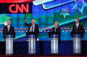 From Left: Jim Webb, Bernie Sanders, Hillary Clinton, Martin O'Malley and Lincoln Chafee at the CNN-moderated Democratic presidential debate  (Josh Haner/NYT/ZUMA Press/Newscom)