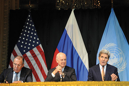 From left: Russian Foreign Minister Sergei Lavrov, U.N. Special Envoy for Syria Staffan de Mistura and Secretary of State John Kerry attend a news conference in Vienna last month. (Liu Xiang Xinhua News Agency/Newscom)