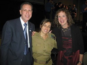 Gary and Julie Applebaum pose with Ligal Atias, an Israeli soldier they  sponsor through the FIDF's IMPACT! program. (Marc Shapiro)