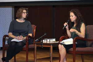 "Sarah Wildman reads excerpts from her book ""Paper Love"" during a presentation at Chizuk Amuno  Congregation, which was moderated by Suzy Snyder of the United States Holocaust Memorial Museum."