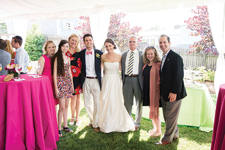Steve and Mandee Heinl (center) with Vicki Almond (third from left), Jon Cardin (far right) and others at their wedding. (Photo provided)