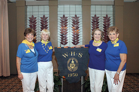 From left: Beverly Kronthal, Sandy Liberman, Zelda Zaben and Beatrice Yoffe pose for a photo at the 65th reunion of Western's Class of 1950. (photo by Justin Katz)