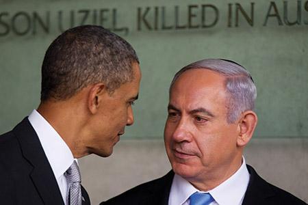 President Barack Obama speaks with Israeli Prime Minister Benjamin Netanyahu during a prior visit to Israel. (Uriel Sinai/Getty Images)