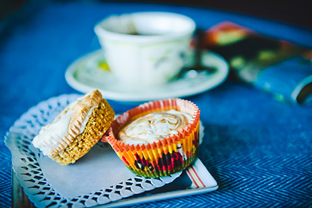 Pumpkin-Swirled Mini Cheesecakes.