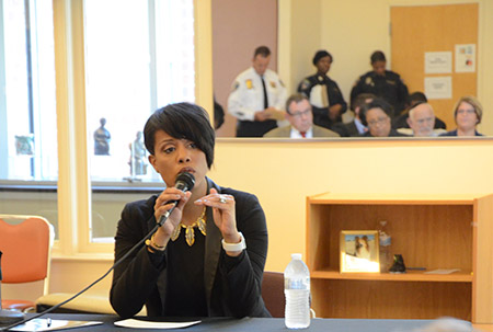 Mayor Stephanie Rawlings-Blake fields questions from Baltimore City senior residents at the Edward A. Myerberg Senior Center.